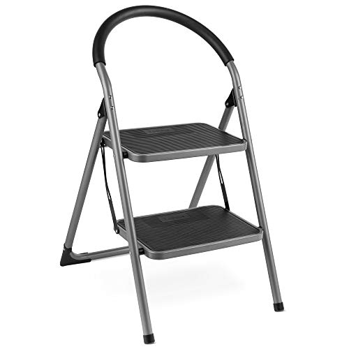 VonHaus Premium 2 Step Ladder - Portable - Anti Slip Feet - Foldable, Easy to Store Design – Ideal for Home/Kitchen/Garage – Strong Sturdy Steel 150KG Max Capacity