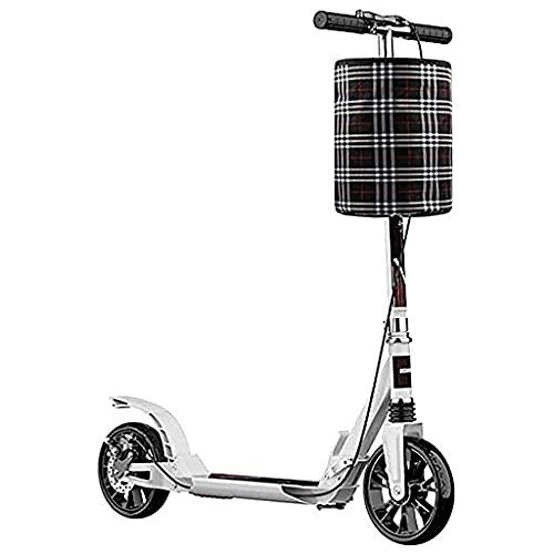 Patinete freestyle Plaqueteo plegable adulto Scooters con la rueda grande Frenos de mano Suspensión dual Scooters de cercanías con cesta de almacenamiento Capacidad y campanas Capacidad 330 lbs