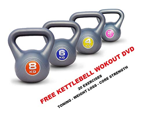 UK Fitness Kettlebell Strength Training Kettlebells 2kg, 4kg, 6kg, 8kg, 10kg, 12kg Weights Home Training Gym (2-4-6-8kg Set)