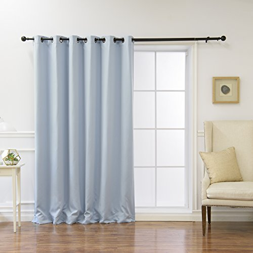 """Best Home Fashion Wide Width Thermal Insulated Blackout Curtain - Antique Bronze Grommet Top - Sky Blue - 80"""" W x 96"""" L - (1 Panel)"""