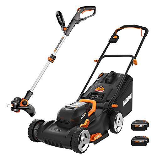 WORX WG911 20V Power Share Lawn Mower and Grass Trimmer, Black and Orange