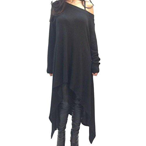 GWCSS T-Shirt À Manches Longues pour Femme Coton Irrégulier Irrégulier À Manches Larges Et Larges, Black, XXL