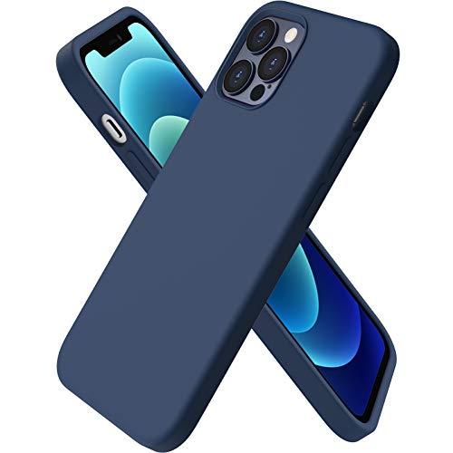 ORNARTO Coque Compatible avec iPhone 12 Case 6,1' et iPhone 12 Pro Case,Fine en Caoutchouc Liquid Silicone Cover Protection Bumper Anti-Choc Housse Étui 6,1 Pouces Marine Intense