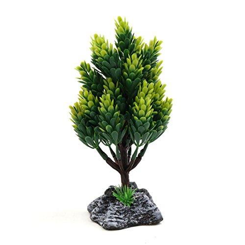 Árbol de plástico Verde Acuario Betta Tank Aquascape Planta Decorativa con Base de Resina