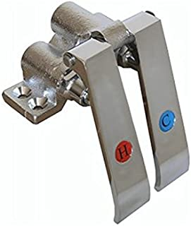 AA Faucet Foot & Knee Operated Valves with Red & Blue Index Brass Pedals (Knee Action)