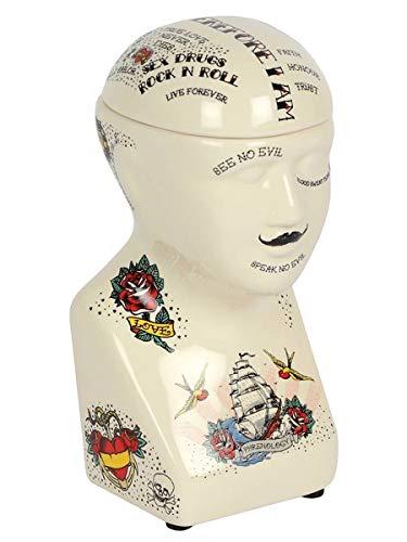 Grindstore Ornamento Phrenology Head Vaso di stoccaggio 6.5 x 17cm