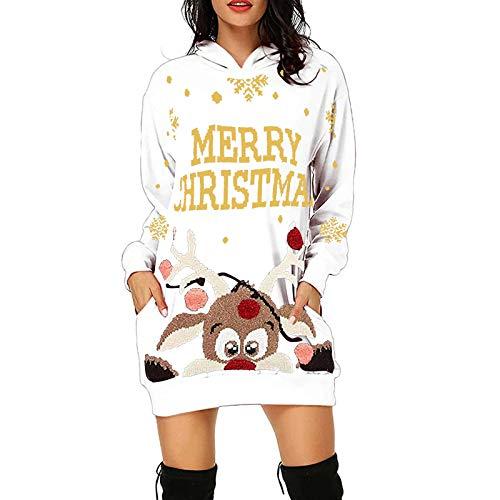 PcLeam Damen WeihnachtskleidParty Kleider Weihnachts KostüM Cartoon Drucken Oberteil Langarmshirt LäSsig Sweatshirt FrüHling Herbst Winter Shirts Festliche Geschenk(A6-Weiß,2XL)