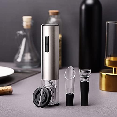 VNICE Conjunto de abrelatas de la botella eléctrica con una placa de aluminio de tamaño, cubierta de vacío y vino de caballería, adecuado para cocina, bar, restaurante