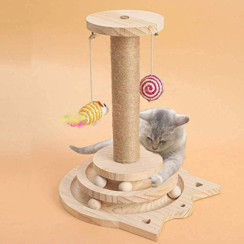 Yang Xin.Style Cat Interactive Toys, Two-Layer Turntable cat Toys, Natural sisal Scratching Posts, cat Intelligence Game Toys.