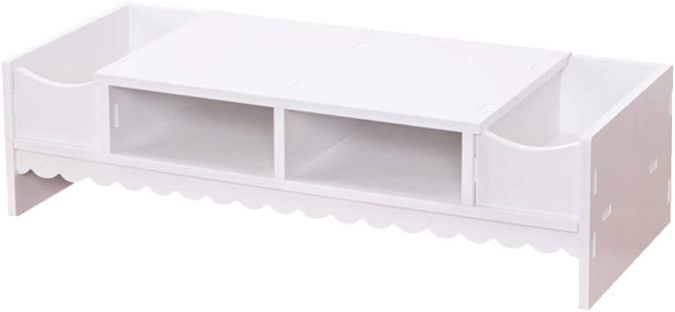 YARNOW Creative Computer Monitor Shelf, Multifunctional Desktop Screen Riser Shelf, Monitor Stand Holder for Home Office(White)