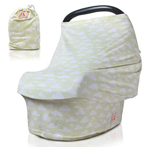 Amazy Autositzbezug für Babys inkl. Aufbewahrungsbeutel – Dehnbare Abdeckung für Babyschalen oder als Stilltuch und Einkaufswagenschutz für Ihr Baby | In 5 Designs erhältlich (Gelb | Wolken)