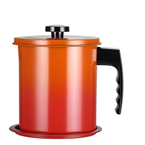Cooking Oil Storage Grease Keeper, Grease Oil Strainer Container Pot with Filter for Deep Fryer (1.6L-Orange)