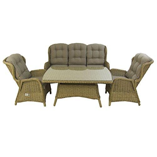 Conjunto sofás de jardín   Mesa Centro 140 cm, 2 butacas y 1 sofá 3 plazas   Color Natural   Aluminio y rattán sintético Redondo   5 plazas   Portes Gratis