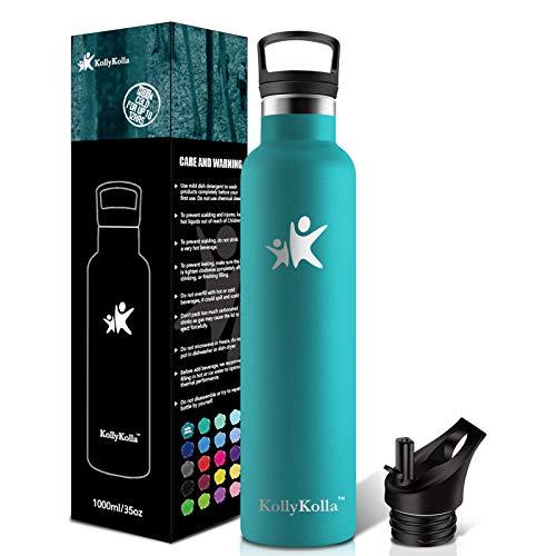 KollyKolla Botella de Agua Acero Inoxidable 1L, Termo Sin BPA Ecológica Frascos Térmicos Reutilizable, Botella Termica con Pajita y Filtro, Water Bottle Deporte, Gym, Yoga, Cámping, Verde Oscuro