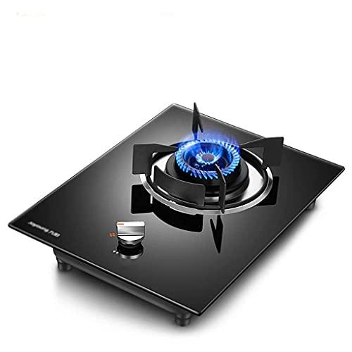 Nieuwe Gaskookplaat Cooker Desktop/Inbouw Gasfornuis, 4.2KW Vuurkracht/Met Flameout Bescherming/Zwart Gehard Glas Panel 33X44X15CM [Energie Klasse A] (Aardgas)
