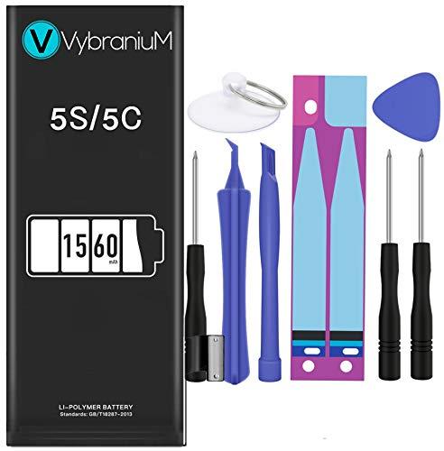 Vybranium Batteria compatibile con iPhone 5S 5C   2019 Data di produzione   Manuale Profi Kit Set di Attrezzi   Batteria di ricambio senza cicli di ricarica   Con tutti gli APN originali