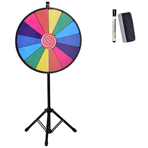 DREAMADE Glücksrad Bunt Höhenverstellbar, Spielzeuge für Lotteriespiele, Wheel of Fortune mit Kompletten Zubehör