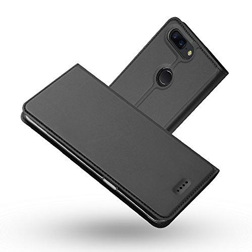 Radoo OnePlus 5T Hülle, Premium PU Leder Handyhülle Brieftasche-Stil Magnetisch Folio Flip Klapphülle Etui Brieftasche Hülle Schutzhülle Tasche Hülle Cover für OnePlus 5T (Schwarzgrau)