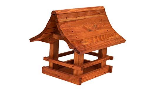 Vogelfutterhaus Vogelhäuschen Futterspender, aus Holz, vogelhaus Perfekt auf Balkon oder Garten. (Erle)
