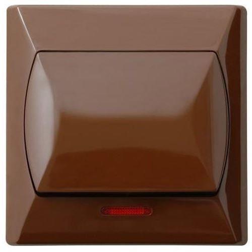 Grote eenvoudige schakelaar Basic klik wandplaat bruin met licht