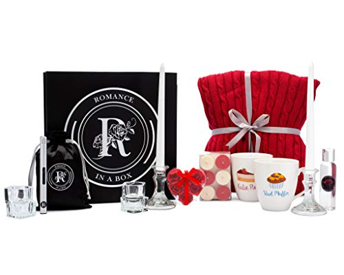 Romance-in-a-Box | Romantic Gifts for Her with His Her Mugs Knit Blanket Candles and Rose Petals