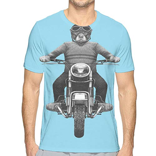 GUUi Mens T-Shirt,Dog Breed Riding Motorcycle Adventurous Scooter Hard Hat S
