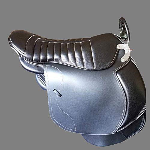 KDKDA New Western Horse Barrel Racer Leder Vergnügen Trail anzeigen Sattel TACK Pferdesattel Sattlerei Doppel-Sattel-Pferd Reitsattel for Zwei Person Touristen Eltern-Kind-Sattel mit gutem Komfort