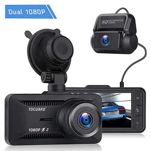 TOGUARD Dual Dashcam 1080P Full HD vorne und Hinten, Autokamera 3 Zoll IPS-Bildschirm mit GPS, 170°Weitwinkel, Max. 128GB Videorecorder mit Einark-Monitor, Loop-Aufnahme, G-Sensor und WDR Nachtsicht