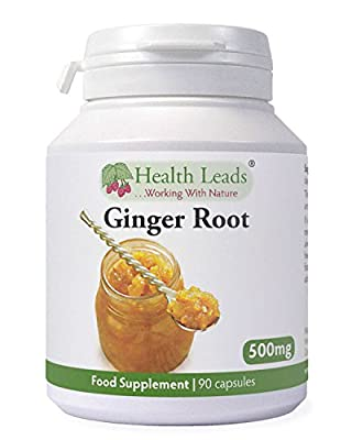 Ginger Root 500mg x 90 capsules (100% Additive Free Supplements) rhizome/curcumin from Health Leads UK