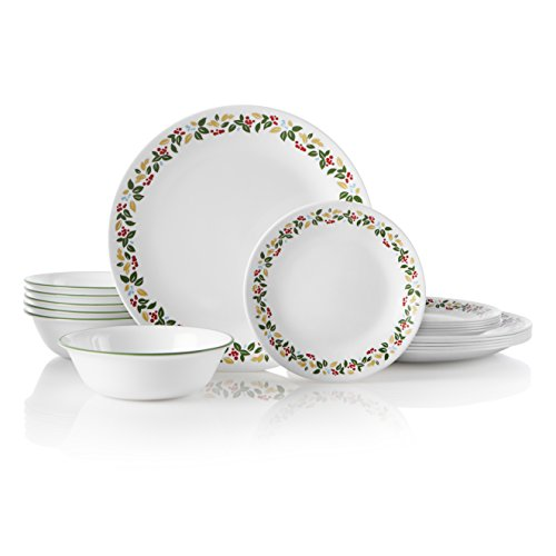 Corelle 1134621 Service for 6, Chip Resistant, Holiday Berries dinnerware sets, 18-piece