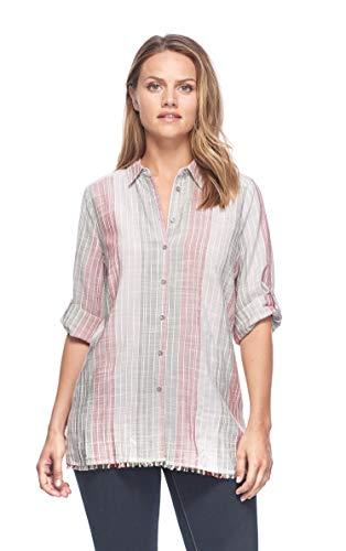 FDJ French Dressing Women's Fringed Bottom Hem Shirt, Multi, 6