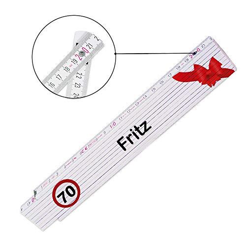Zollstock mit Namen Fritz und Motiv zum 70. Geburtstag | Glieder-Maßstab mit Namen bedruckt | Viele Namen zur Auswahl
