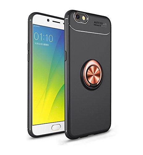 Jardire Kompatibel Oppo F3 Plus Hülle Schwarz Gold, hergeben (2 Stück) 3D HD Panzerglas Schutzfolie, ständer für Handy Smartphone, Ultraleichte TPU-Autohalterung mit unsichtbarem Magnetring