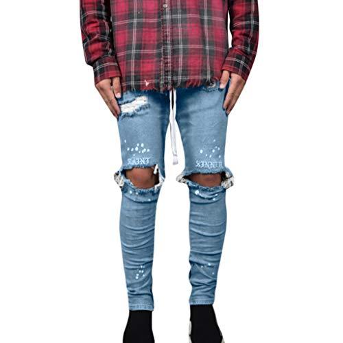 Qiuday Herren Slim Jeans Denim Pants Hose Männer Zerrissene Fit Motorrad Vintage Hiphop Streetwear Hosen Freizeithose Sporthose Jogginghose Gepolsterte, Atmungsaktiv Sports fit Chinohose Neu