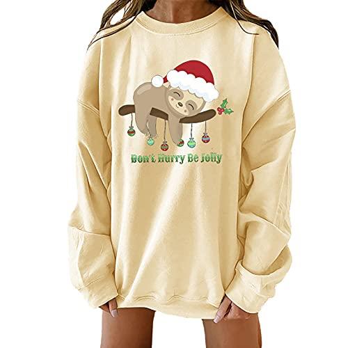 Christmas Shirts for Women Crewneck Sweatshirts Casual Long Sleeve Blouse Cute Christmas Elk Print Tops Fall Pullover Beige