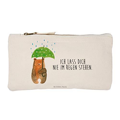 Mr. & Mrs. Panda Kosmetikbeutel, Federmappe, S Schminktasche Bär mit Regenschirm mit Spruch - Farbe Weiß