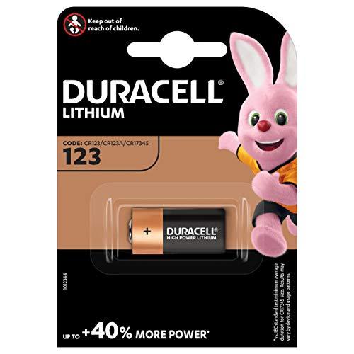 Duracell 123 Batteria Lithium 3V, Specialistica per Foto, CR123/CR123A/CR17345, Progettate per l'Uso in Sensori, Serrature senza Chiave, Flash della Fotocamera e Torce, 1 Batteria, Nero/Bronzo
