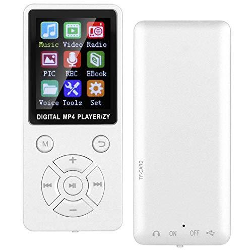 Socobeta Reproductor de música, cuerpo de material mate Reproductor Mp3 con diseño de siete botones Múltiples modos de reproducción con 4.2 para escuchar música (blanco)