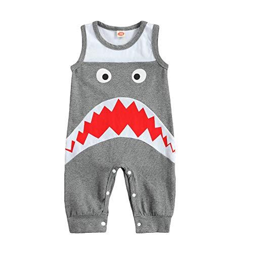 Bebé Recién Nacido Niños Mameluco Sin Mangas De Dibujos Animados Tiburón Mono Niño Niños Mono De