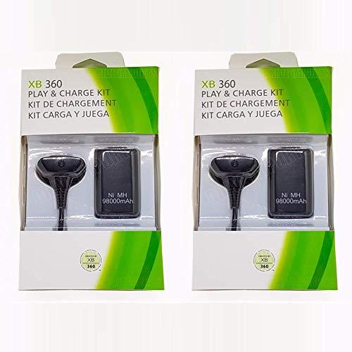Kit 2 Baterias Carregadores Play/charge Controle Xbox 360 98.000mAh