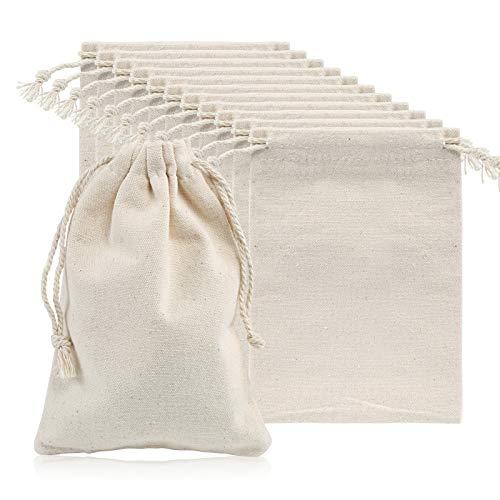 Naler 12 Pcs Sacs en Toile de Jute Noël Calendrier de l Avent Cadeaux de Cordon Décor de Mariage Noël écru 10 * 15cm