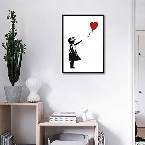Canvas prints ballon meisjes inkjet muurkunst afbeelding moderne creatieve posters hoofddecoratie schilderij 80x100cm No Frame