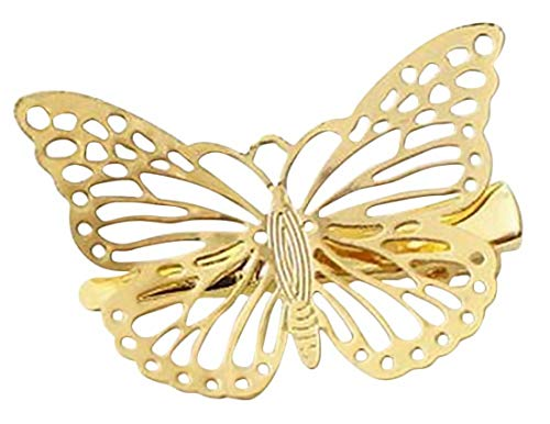 Plus Nao(プラスナオ) ヘアアクセサリー ヘアピン ヘアクリップ 蝶 バタフライ ゴールド ヘアアレンジ 髪飾り かわいい パーティー レディ - 右側