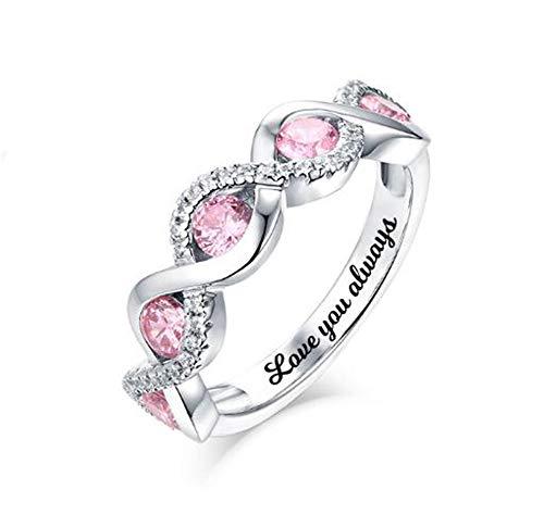 hjsadgasd Personalizada de Sterling Silver Anillo de Compromiso Anillo de Promesa para Ella 5 birthstones Grabado Regalo Personalizado