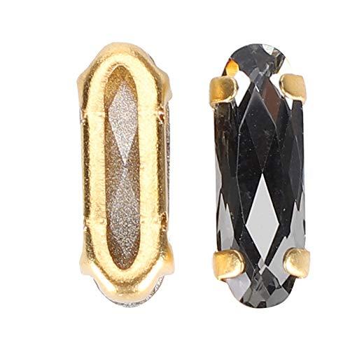 Diamantes de imitación ovalados Hermosos 30 piezas Tamaño pequeño sin decoloración para accesorios de ropa Decoraciones(Transparent Black)