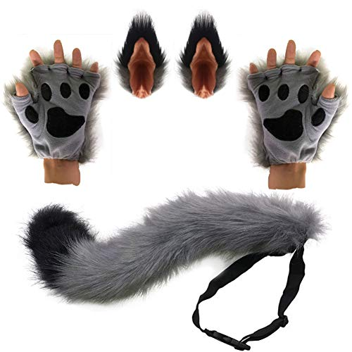 HAOAN Wolf Fox Tail Clip Ears and Gloves Set Halloween Christmas Fancy Party Costume Toys Gift for Children or Adult Gray