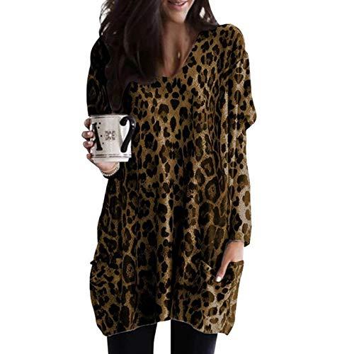 Blusa Vintage Blusa con Estampado de Leopardo de Manga Larga Cuello en V Camisa de Oficina para Dama Túnica...