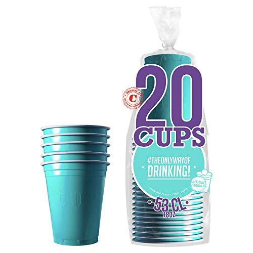 Pack de x20 Original Turquoise Cups Officiels | Gobelets Américains 53cl Turquoises | Beer Pong Qualité Premium | Gobelets Plastique Réutilisables | Lavables Main ou Lave-Vaisselle | OriginalCup®