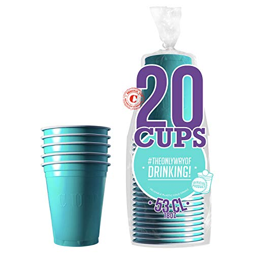 20er Pack Offiziellen Original Turquoise Cups | Amerikanische 53cl Becher türkis | Beer Pong | Premium Qualität | Becher aus wiederverwendbaren Plastik | Spülmaschinenfest | OriginalCup®