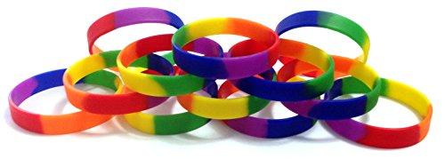 "TheAwristocrat_USA COMPANY_1 Dozen Multi-Pack Rainbow (Blank) Wristbands Silicone Rubber Bracelets (Adult 8"" 202mm)"